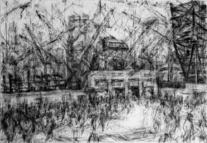 Rebuilding Ground Zero from PATH Station Entrance - 2010-11 150 x 214cms Compressed charcoal