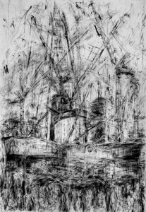 Completed Shard and construction at London Bridge Quarter - 2013 224 x 151cms Compressed charcoal