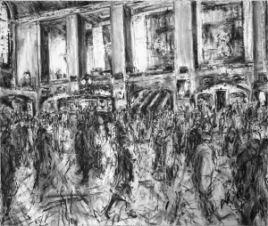 Grand Central Concourse - 2007 150 x 203cms Charcoal