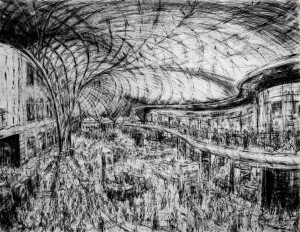 Kings Cross Interior - 2015-16 150 x 200cms Conte crayon