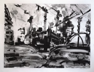 Old Street Roundabout - Traffic - Monoprint 50 x 68cms Framed