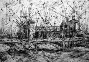 Battersea Power Station 150 x 204cms Compressed charcoal